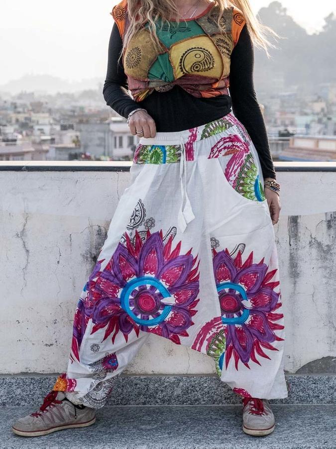 Aladdin woman trousers Aruna - white with mandala