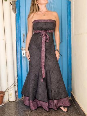 Vestido Shanti de mujer - bicolor gris oscuro / viola