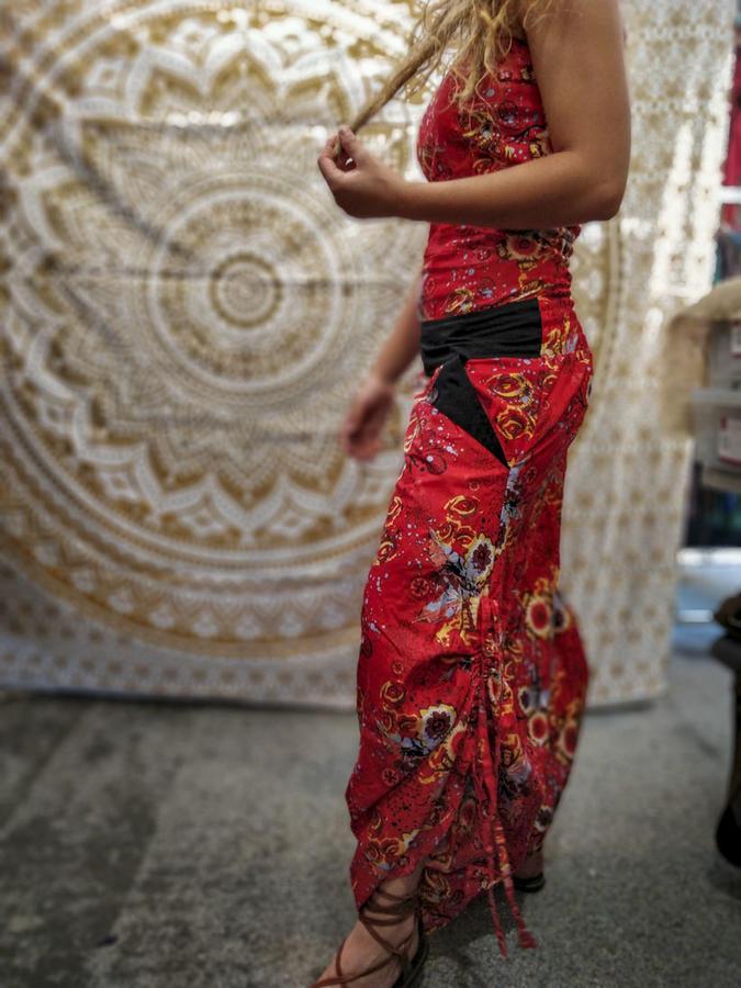 Vestito tuta donna lungo Vaishali pantalone cavallo basso - fiorato rosso