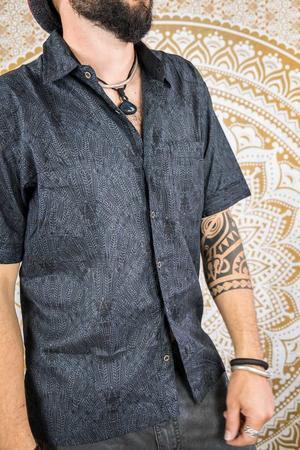 Camisa hombre Budhil manga corta - gris oscuro