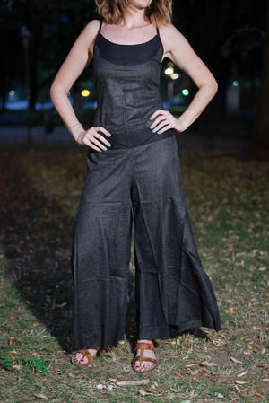 Vestito tuta donna lungo Sapna pantalone a zampa - grgio scuro