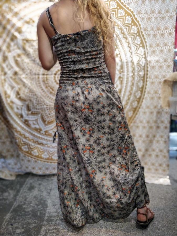 Long woman Jumpsuit Vaishali low crotch – gray orange