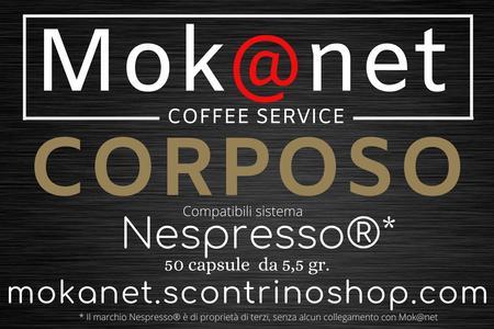 """100 CAPSULE COMPATIBILI Nespresso MOK@NET """" CORPOSO """""""
