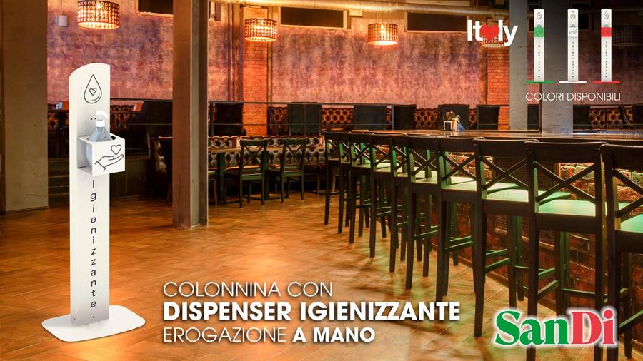 COLONNINA CON DISPENSER IGIENIZZANTE