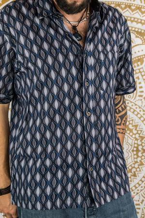 Camicia uomo Budhil manica corta - geometrica blu grigio