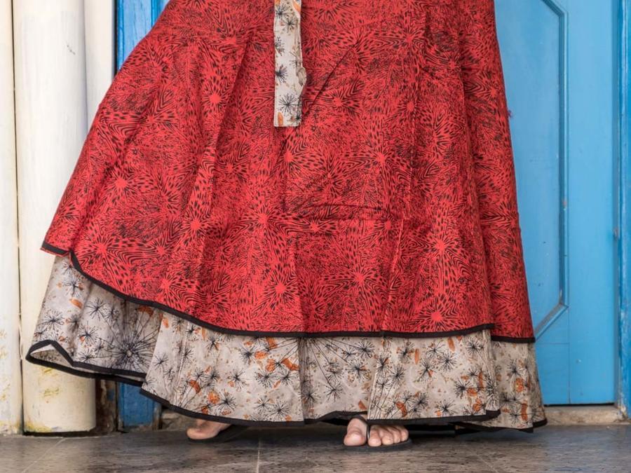 Vestito donna autoreggente Shanti - bicolor rosso / grigio arancione