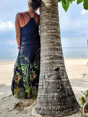 Pantalone donna Keertana zampa d'elefante - fiorato verde