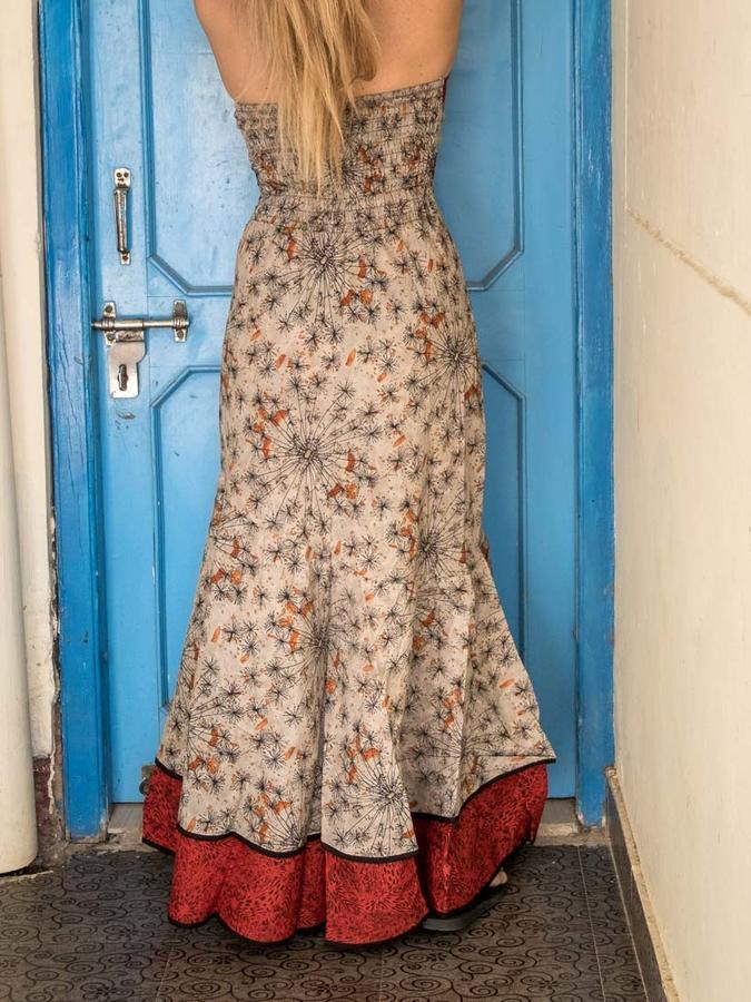 Vestito donna autoreggente Shanti - bicolor grigio arancione / rosso