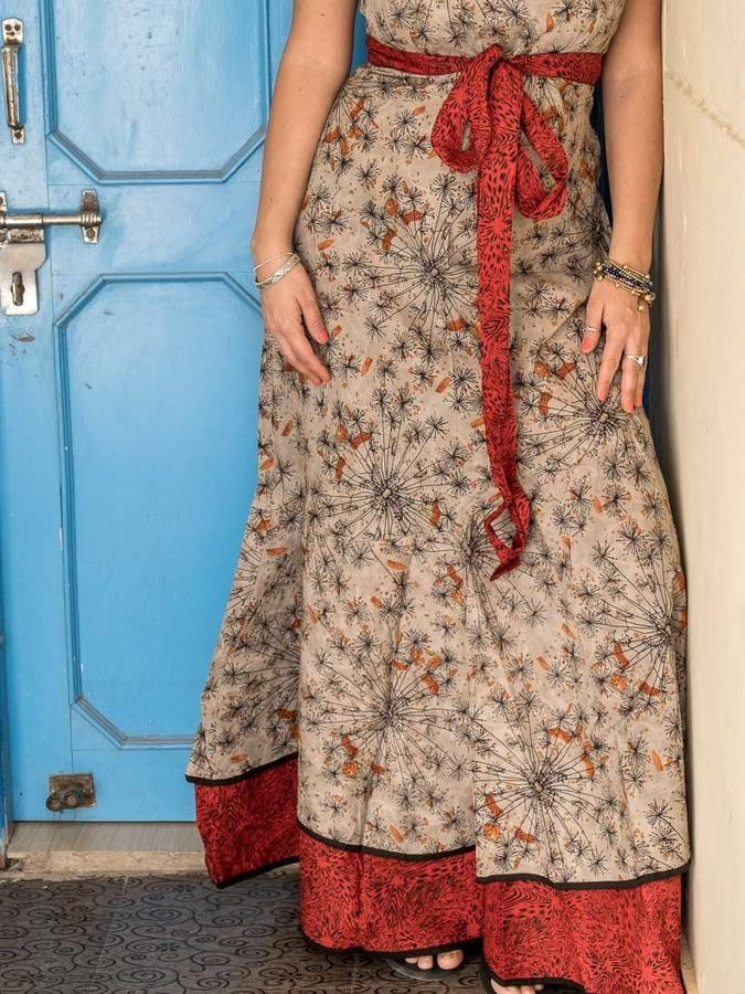 Vestido Shanti de mujer - bicolor gris naranja / rojo