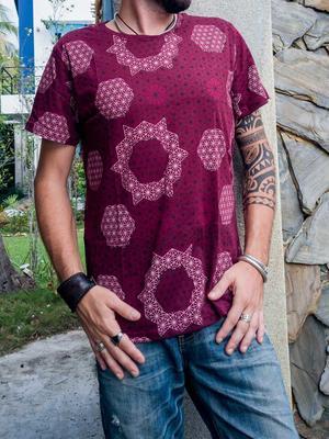 Men t-shirt Ashok silkscreen print - bourdeaux