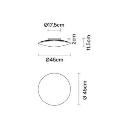 Lampada da Soffitto e Parete Loop di Fabbian in Vetro Soffiato Sabbiato sul Fondo - Offerta di Mondo Luce 24