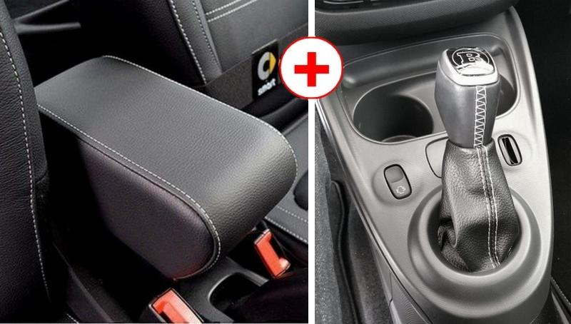 Armrest and shift boot for Smart ForTwo - ForFour New in black eco leather with white stitching