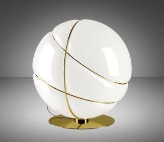 Lampada da Tavolo Armilla di Fabbian in Vetro Soffiato Bianco Lucido e Metallo, Varie Finiture - Offerta di Mondo Luce 24