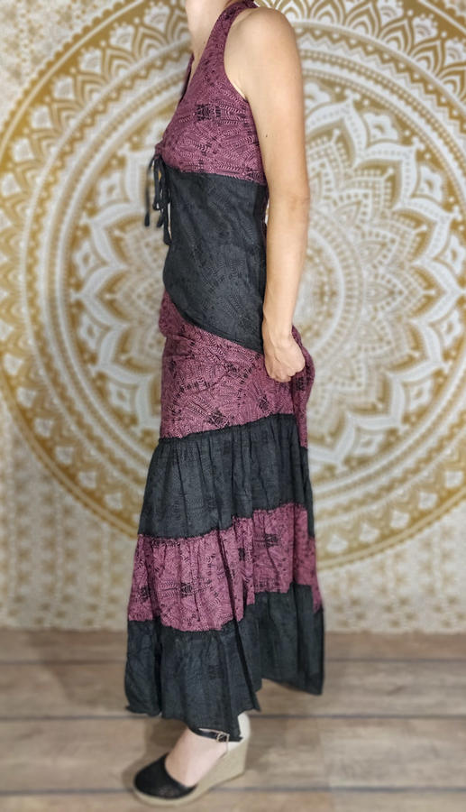 Vestito donna lungo Aparna a balze bicolor - viola / grigio scuro