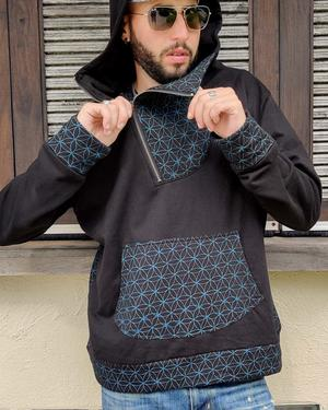 Men's sweatshirt Tushar asymmetrical zip collar and hood - patchwork black & blue