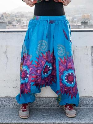 Aladdin woman trousers Aruna - light blue with mandala