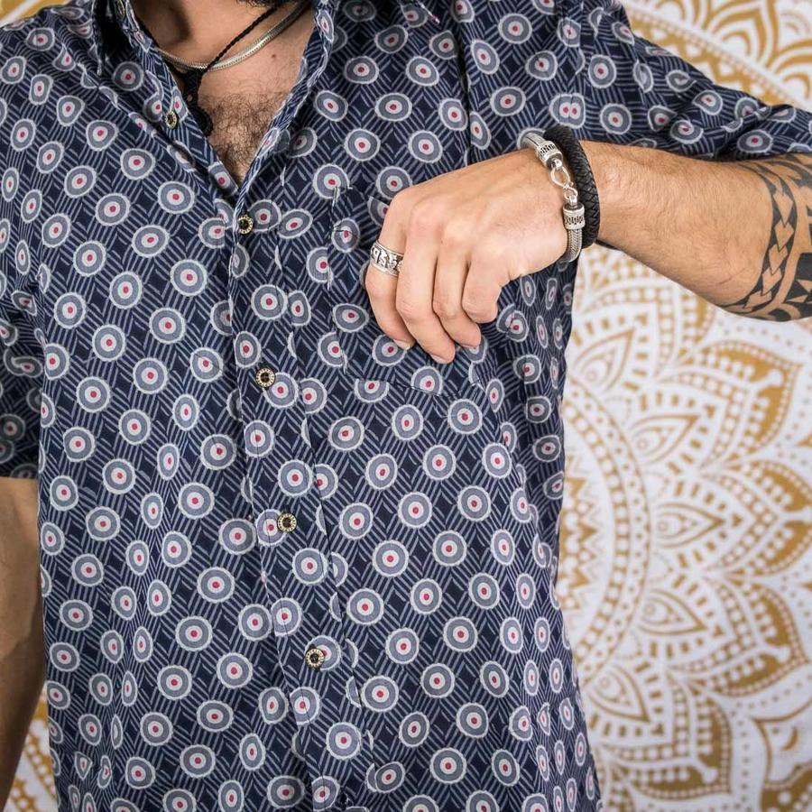 Budhil man shirt short sleeve - blue & red