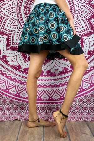Accordion miniskirt Hita - turquoise