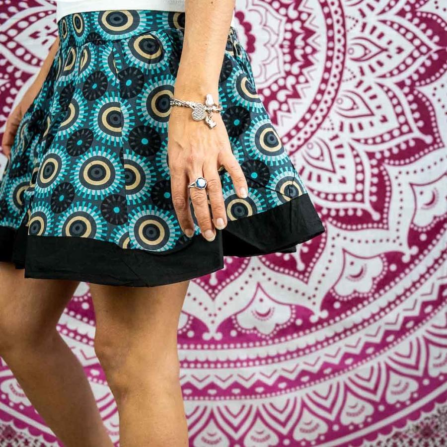 Accordion miniskirt Hita - turquoise