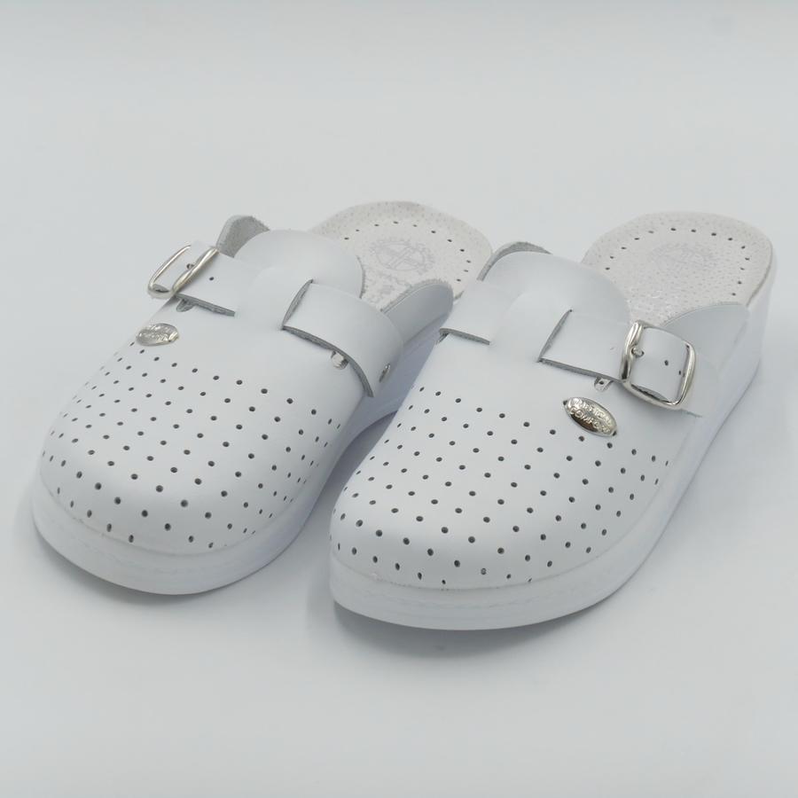Medical Confort 200 Ciabatte sabot donna in pelle bianche