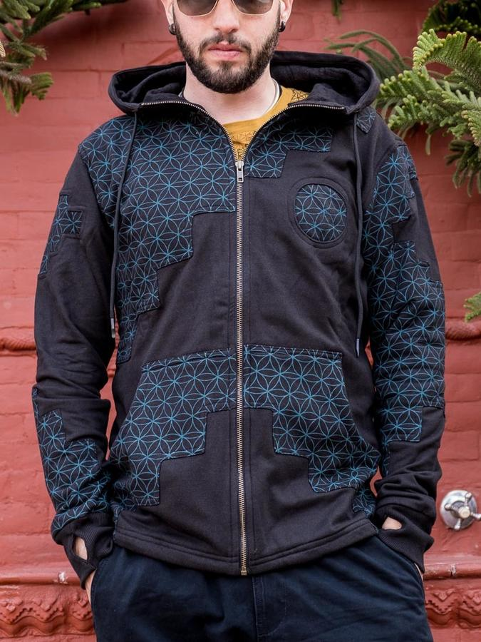 Men's sweatshirt Mayur zip closure and hood - patchwork black & blue