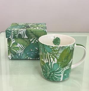 PPD TREND MUG IN PORCELLANA con scatola decorata: FEUILLES TROPICALES