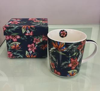 PPD TREND MUG IN PORCELLANA con scatola decorata: TROPICAL FLOWERS