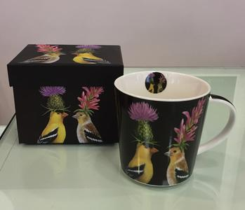 PPD TREND MUG IN PORCELLANA con scatola decorata: GOLDFINCH COUPLE