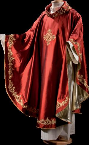 Preziosa casula in seta foderata con tessuto in oro