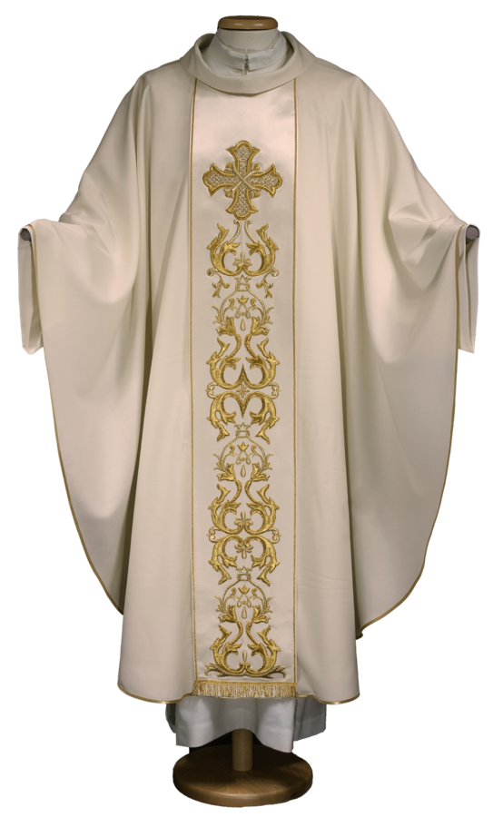 Wool chasuble with embroidered stolon