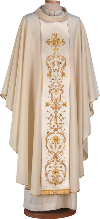 Handmade embroidered 100% wool chasuble