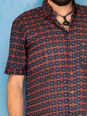 Camicia uomo Budhil manica corta - etnica blu rossa