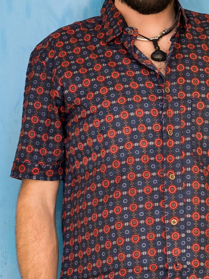 Budhil man shirt short sleeve - red & blue
