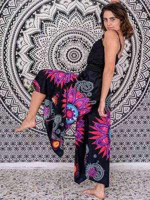 Woman's flared trousers Keertana - black mandala