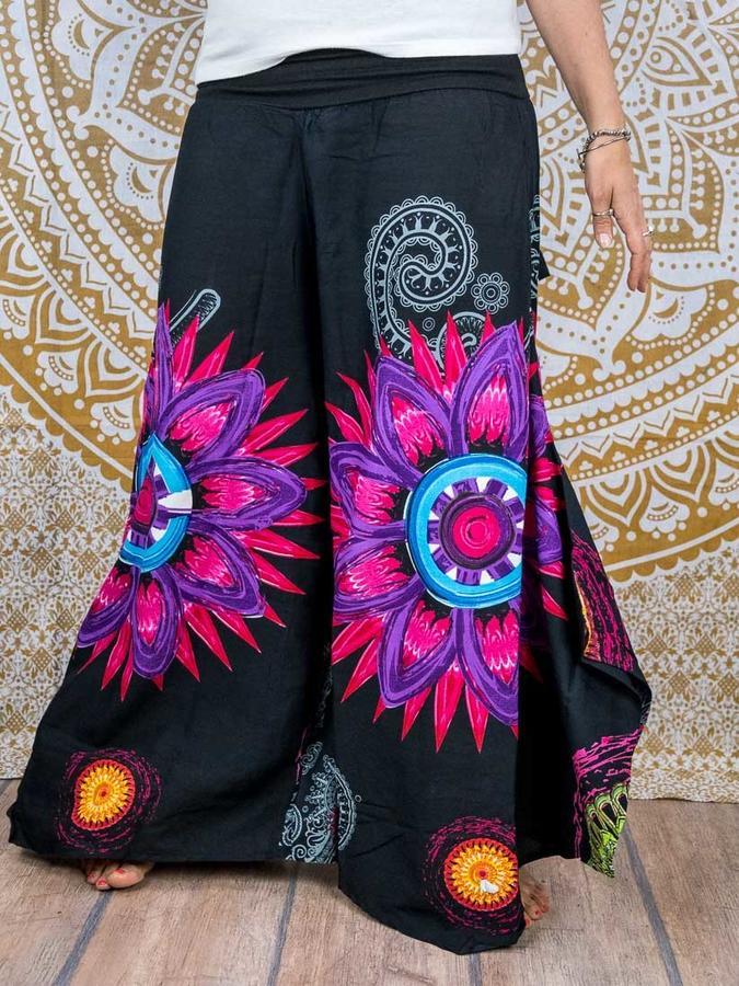 Woman's flared trousers Keertana - black mandala