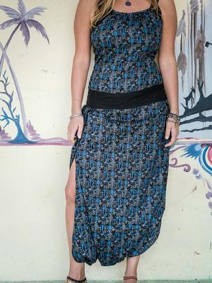Vestido traje largo de mujer Urvasi - negro y azul