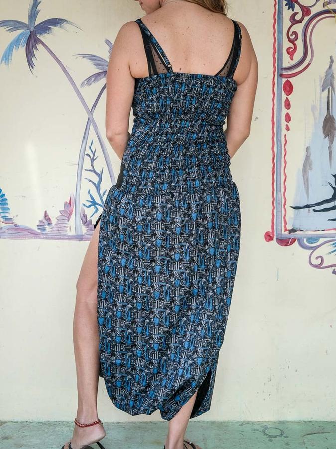Long women jumpsuit Urvasi low crotch with slit - blue