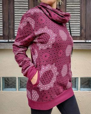 Women's high-neck sweatshirt Durga - bourdeaux