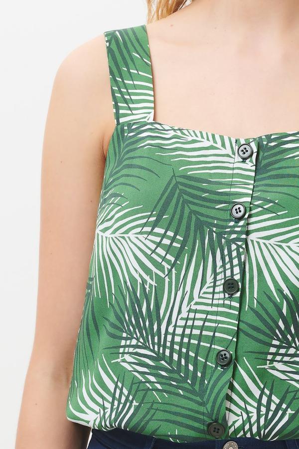 Top foglie di palma con bottoni