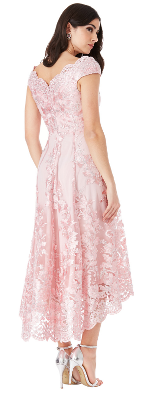 0595 ROMANTIC LINE DRESS IN TULLE AND MACRAME 'LINED WITH ASYMMETRIC SEMI-WHEEL FINAL