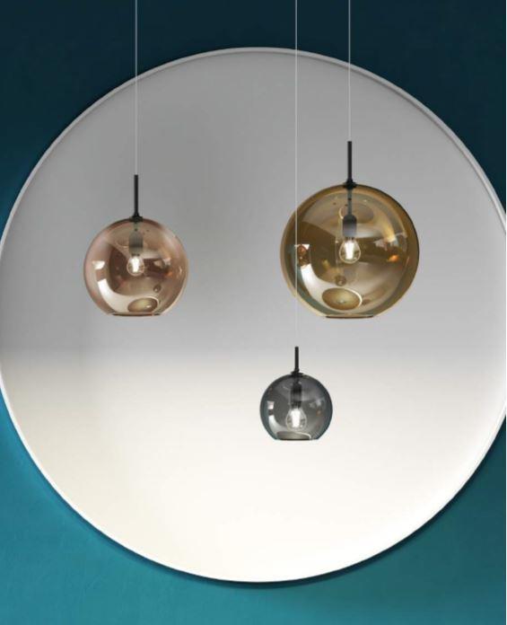 Lampada a Sospensione Beluga Royal di Fabbian in Vetro Soffiato Trasparente Metallizzato, in varie finiture e misure - Offerta di Mondo Luce 24