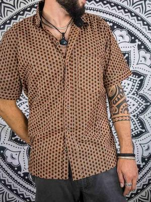 Budhil man shirt short sleeve - brown