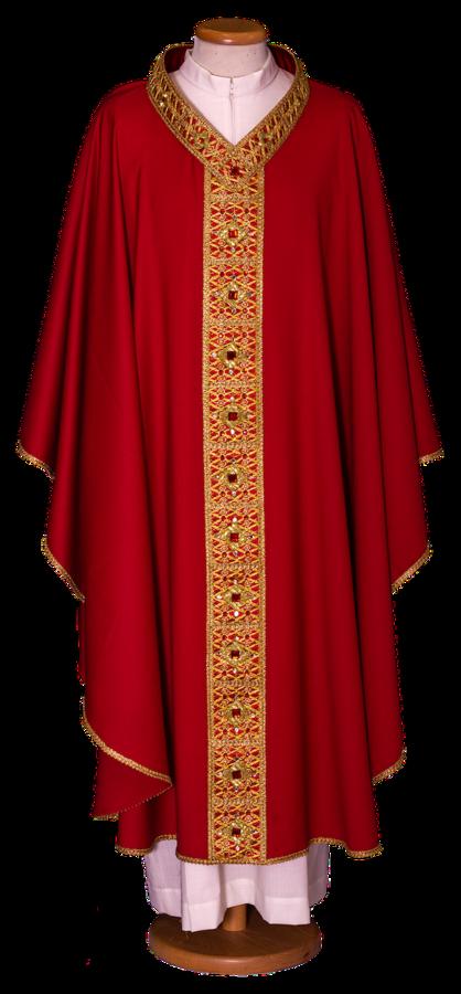 Casula in lana leggera con stolone ricamato