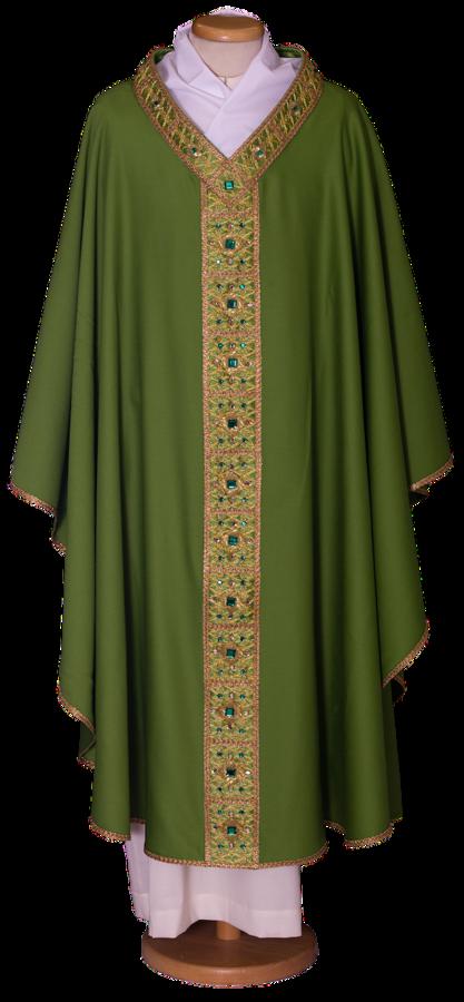 Raffinata Casula in lana leggera con stolone ricamato