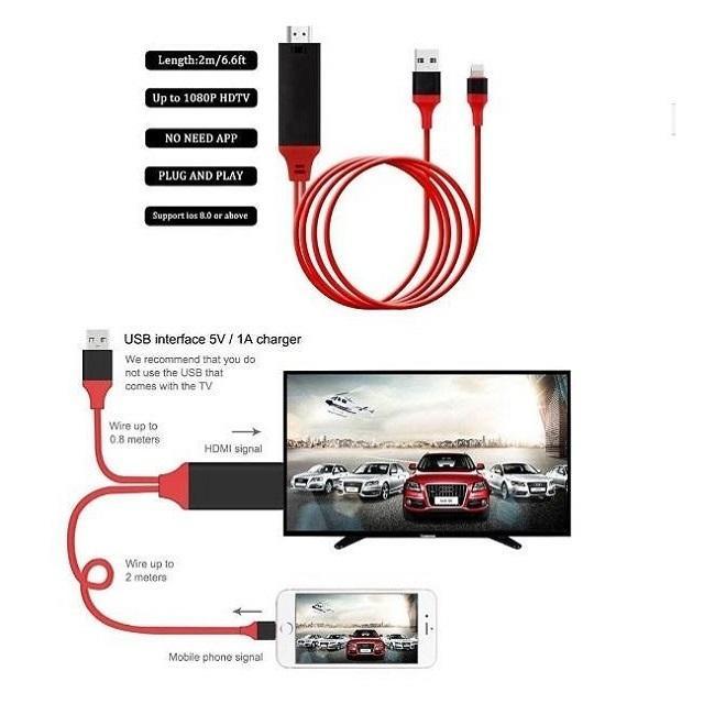 Cavo adattatore video usb hdmi hdtv tv per Apple Iphone 8 7 6 ipad  iOs