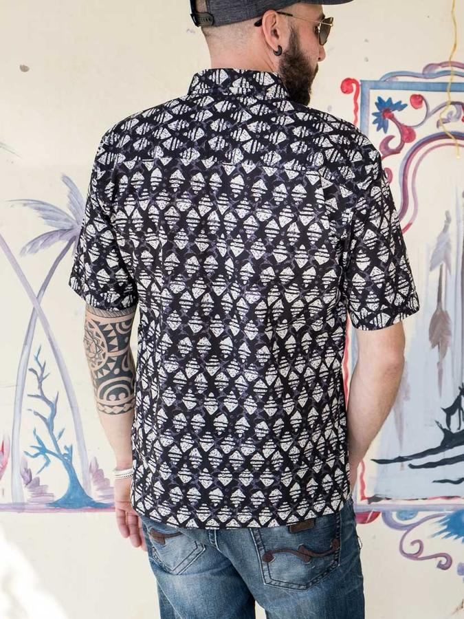 Camisa hombre Budhil manga corta - negro y blanco