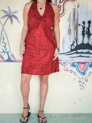 Vestito donna corto Medha allaccio al collo - rosso