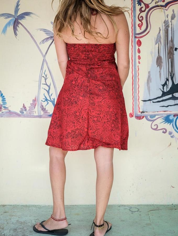 Vestido corto de mujer Medha atado al cuello - rojo