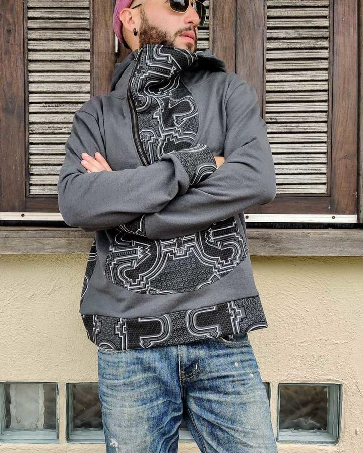Men's sweatshirt Tushar asymmetrical zip collar and hood - patchwork gray