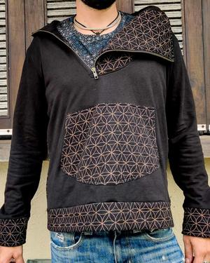 Men's sweatshirt Tushar asymmetrical zip collar and hood - patchwork black & brown